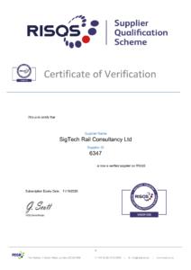 RISQS Verification Certificate